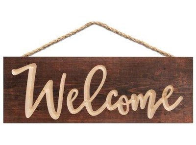 Welcome, Carved Hanging Sign  -