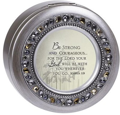 Jeweled Pewter Round Music Box, Be Strong And Courageous, Joshua 1:9  -