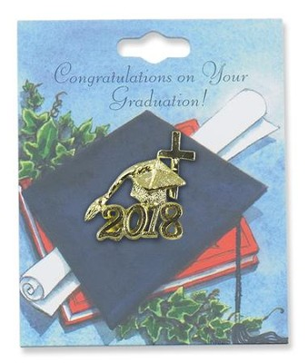 2018 Graduation Lapel Pin with Cross  -