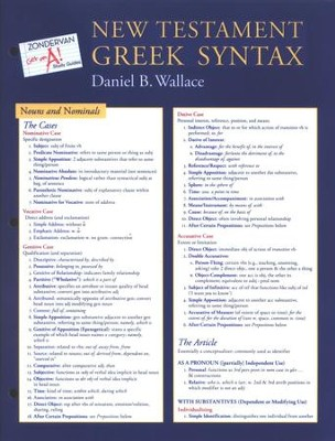 New Testament Greek Syntax Chart Zondervan Get an A! Study Series  -     By: Daniel B. Wallace
