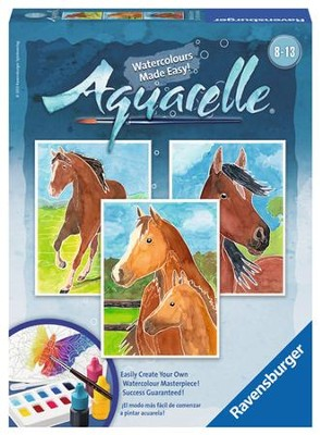 Aquarelle Water Color Painting, Horses  -