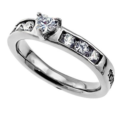 Trust Princess Solitaire Women's Ring, Size 8 (Proverbs 3:5)  -