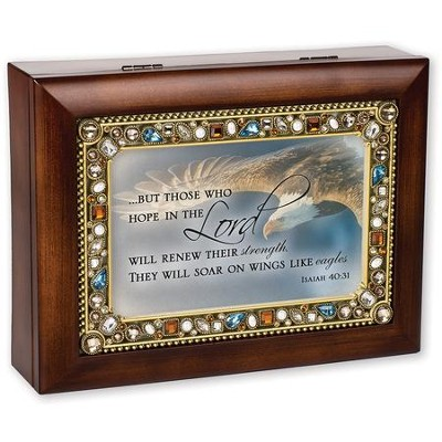 Jeweled Amber Music Box, Hope In The Lord, Isaiah 40:31  -