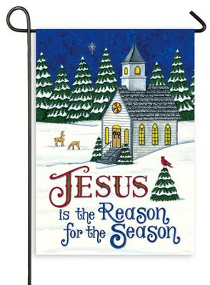 Jesus is the Reason for the Season, Country Church, Flag, Small  -     By: Deb Strain