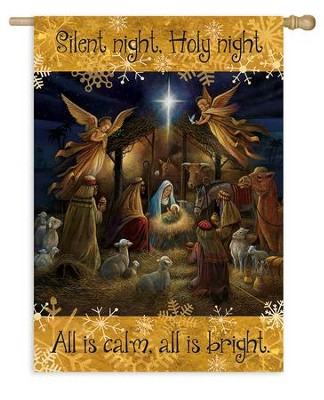 Silent Night, Holy Night, Nativity Scene, Flag, Large  -