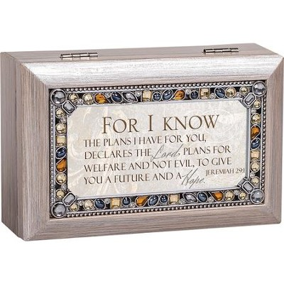 Petite Jeweled Pewter Music Box, For I Know The Plans, Jer 29:11  -