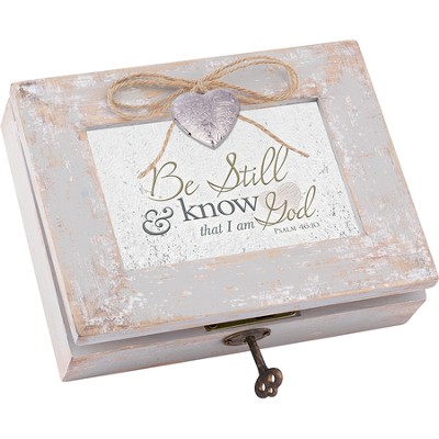 Distressed Music Box with Key, Be Still & Know, Psalm 46:10, White  -