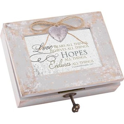 Distressed Music Box with Key, Love Bears All Things, 1 Cor 13:4, White  -