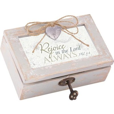 Petite Distressed Music Box with Key, Rejoice, Phil 4:4, White  -
