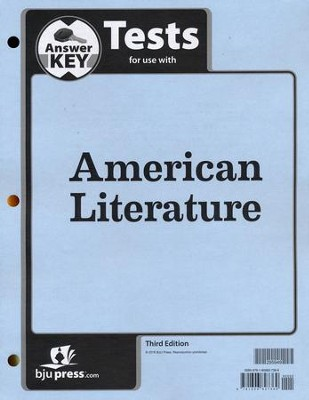 BJU American Literature Grade 11, Tests Answer Key (Third  Edition)  -