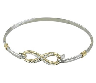 Infinity/Heart Clip Bracelet With Stones, Two-Tone  -