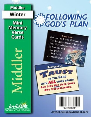 Following God's Plan Middler (Grades 3-4) Mini Memory Verse Cards  -