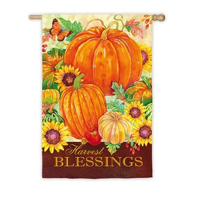Harvest Blessings Pumpkins Flag, Large  -     By: Andrea Tachiera