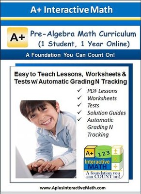 Math Curriculum Lesson eBooks, Worksheets & Tests with  Automatic Grading N Tracking Grades 7 & 8 (Pre-Algebra; 1  Year Access)  -