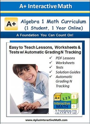 Math Curriculum Lesson eBooks, Worksheets & Tests with  Automatic Grading N Tracking Grades 8 & 9 (Algebra 1; 1 Year  Access)  -