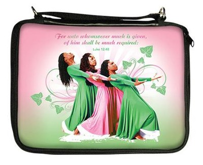 Three Ladies Bible Cover, Pink and Green  -
