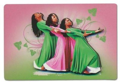 Three Ladies Magnet, Pink and Green  -