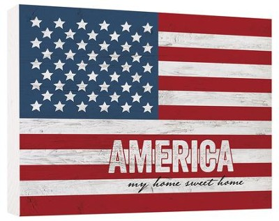 American Flag, Block Sign, Small  -