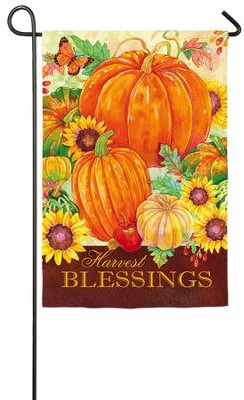 Harvest Blessings Pumpkins Flag, Small  -     By: Andrea Tachiera