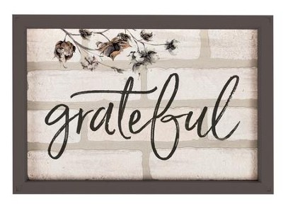Grateful, Framed Faux Brick Sign  -