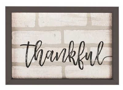 Thankful, Framed Faux Brick Sign  -