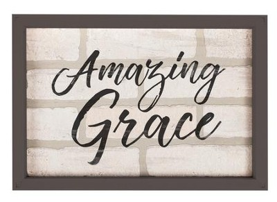 Amazing Grace, Framed Faux Brick Sign  -