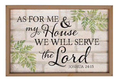 As for Me and My House, We Will Serve the Lord, Framed Faux Brick Sign, Large  -