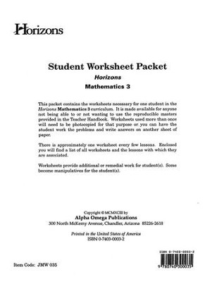 Horizons Mathematics Grade 3 Student worksheet packet  -
