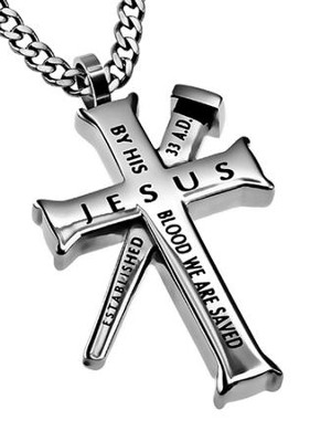 By His Blood Established Cross Necklace, Silver  -