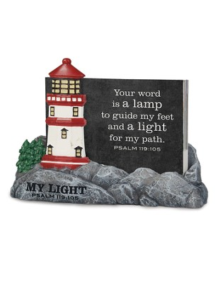 My Light, Lighthouse, Scripture Card Holder, with 30 Cards, Psalm 119:105  -