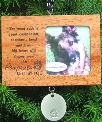 Pawprints Wood Photo Ornament  -