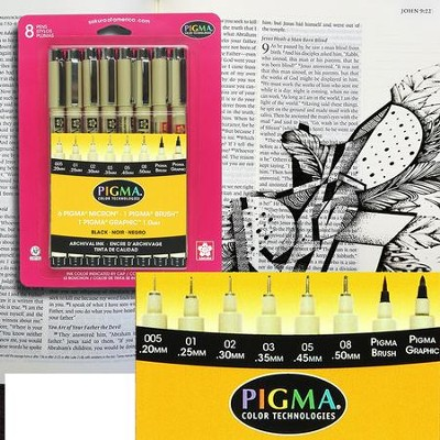 Pigma Micron Nibs, Assorted Sizes, Black  -