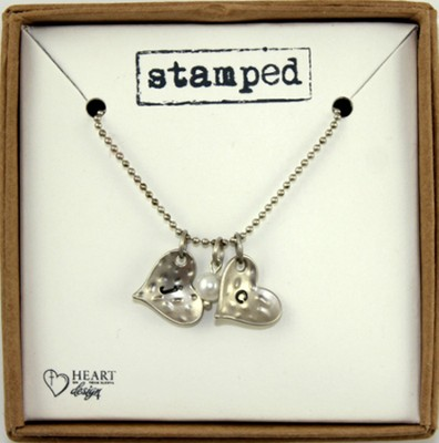 J and C Heart Necklace  -