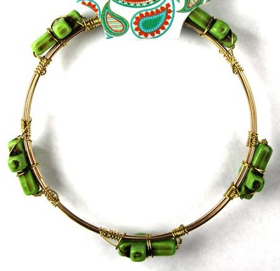 Cross Bangle Bracelet, Green  -