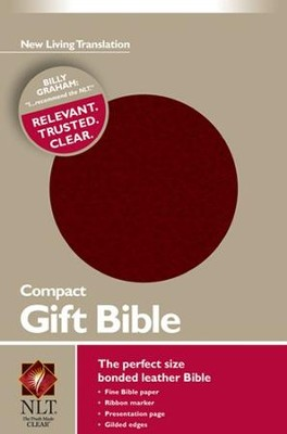 NLT Compact Gift Bible-Bonded Leather, Burgundy  -