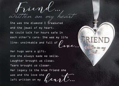 Friend Heart Ornament and Framed Poem  -