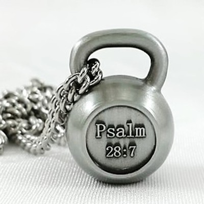 Men's Kettle Bell Antique Finish-Psalm 28:7  -