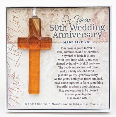On Your 50th Wedding Anniversary Cross Ornament  -
