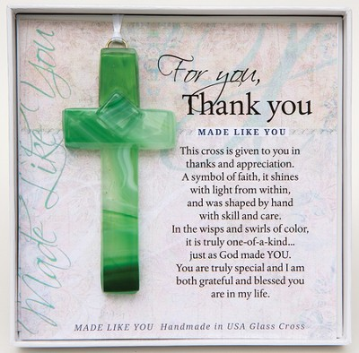 Thank You, Hanging Cross, Green  -