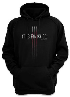 It Is Finished, Hooded Sweatshirt, Black, Large  -