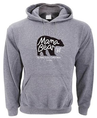 Mama Bear, Hooded Sweatshirt, Gray, X-Large  -