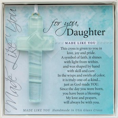 Daughter, Hanging Cross, Aqua  -