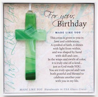 Birthday, Hanging Cross, Green  -