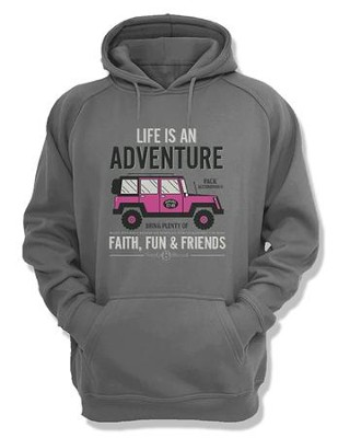 Life Is An Adventure, Hooded Sweatshirt, Gray, Large  -