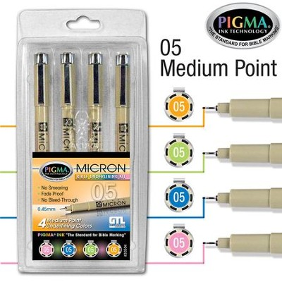 PIGMA Micron 05 Bible Note Pens, Set of 4     -