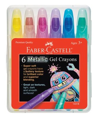 Metallic Gel Crayons, Pack of 6  -