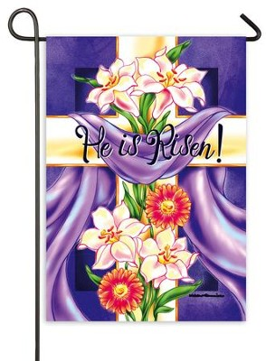 He Is Risen, Floral Cross Flag, Mini  -