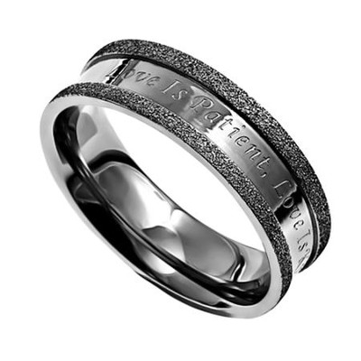 Love Never Fails, Silver Champagne Women's Ring, Size 7 (1Corinthians 13:4-8)  -