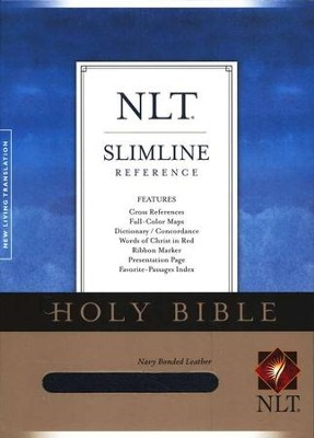 NLT Slimline Reference Bible--bonded leather, navy blue  -