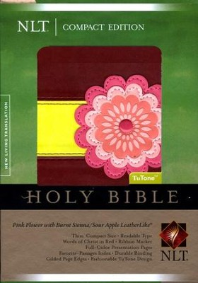 NLT Compact Bible TuTone LeatherLike pink flower w/burnt sienna/sour apple - Imperfectly Imprinted Bibles  -